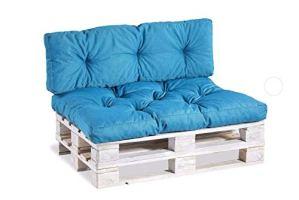 Coussins pour palettes, siège, appui, mousse, matelassée Set (Siège 120×80 + Appui 120×40, Turquoise)