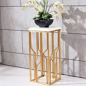 Flower Stand, acier inoxydable brossé Titane plaqué en marbre Étagère à quelques fleurs Canapé latérale Bonsai Continental simple moderne balcon maison intérieure métal châssis de soudure Durable magasin récipient Support Gold+white