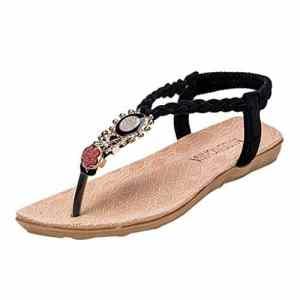 GongzhuMM Sandales Femmes Plates Chaussures éLastique Fille Slippers BohèMe Femmes Chaussons Bout Ouvert éTé Pantoufles De Plage Confortable Tongs AntidéRapant DéContractéEs