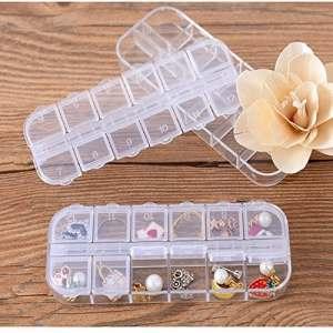 JIJI886 Boîte de Rangement Mini Transparent 12 Compartiments Petits Boîtes Boucles d'oreilles Boîte en Plastique Organisateur Boîte de Rangement Idéal pour Home Bad Bathroom Chambre Camping A