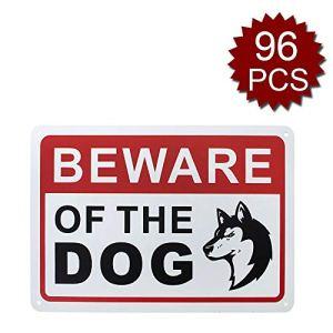 Panneau en aluminium avec inscription « Beware Of Dog », facile à monter, Beware of Dog/96pcs, 7″ W x 10″ L