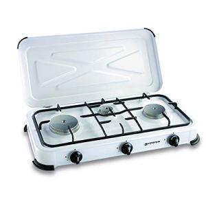 Plaque de cuisson gaz portable 3 feux – 3450 w – blanc laqué