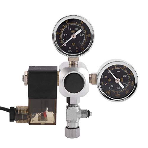 Zerone Régulateur de CO2, Régulateur Réducteur de Pression du Cylindre et de Sortie avec Vanne Magnétique Adaptateur pour Aquarium Contrôle de Bulles