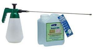 AGO Quart Kit complet 2L Quart Hauteur 400Concentré Vert Produit d'élimination + püher Profi 6bar spécial. Air Comprimé avec 50cm laiton Rallonge. contre les algues, revêtements de Lichens et autres Vert. Biodégradables, chlore et sans acide