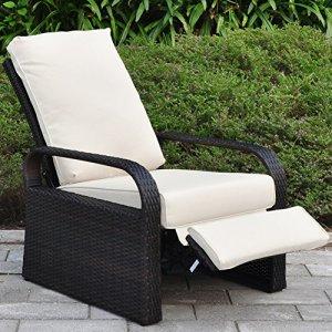 ATR Chaise inclinable de Patio en résine en résine extérieure avec Coussins, Meuble de Patio Canapé à rotin à réglage Automatique, UV/Fade/Water/Sweat/Rust Resistant