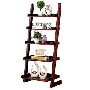 GF Pliage des Étagères De Stockage De Plantes Rack Stand Flower Staircase avec 5 Étapes Échelle pour La Décoration Intérieure (Color : Walnut Color)