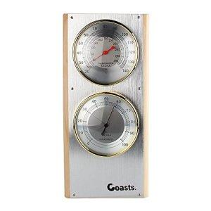 JIAN YA NA Acier Inoxydable Sauna thermomètre hygromètre Verticale 7,7 « x5 » x0,8 Argent