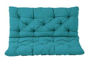 Meerweh Coussin haut dossier pour de Banc de Jardin HANKO, 2 Sièges, Coton, ca. 100 x 98 x 8 cm, ton bleu, 100x98x8 cm