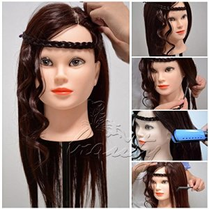 pedgeo (TM) Excellente 85% Vrais Cheveux Humains cosmétologie 55,9cm Tête Mannequin pour entraînement de coiffure C20