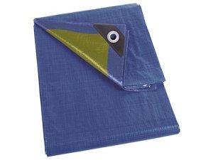 Perel 110-0404 Bâche, Bleu/Kaki, 4 x 4 m