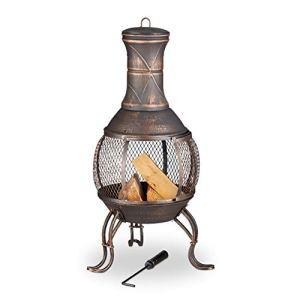 Relaxdays Azteque Poêle à Frire en Bois avec Grillage Anti-étincelles Bronze Hauteur 89 cm