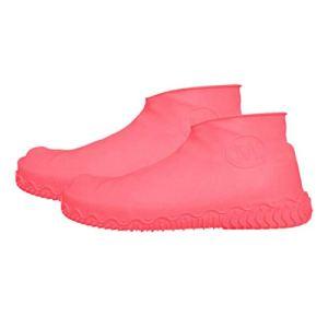 Sixcup Couvre-Chaussures en Silicone Imperméable à l'eau Réutilisables pour Couvre-Chaussures Antidérapante Étanche à la Pluie pour Hommes, Femmes, Enfants l'intérieur Extérieur Supplies (L, Rose)