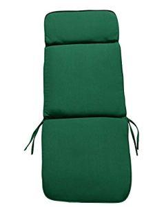 UK-Gardens Mobilier de Jardin Vert Large Assise et Dossier Complet Coussin pour Fauteuil Relax Pliant–Housse Amovible–Double Passepoil–Intérieur ou extérieur