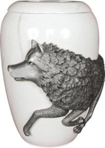 Urne funéraire en étain des cendres funéraires–Taille adulte–(le loup) Free Spirit Finition effet marbre