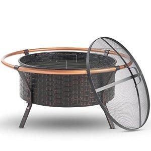 VonHaus Brasero à Rebord en Cuivre | Fonction Barbecue 2 en 1 | Extérieur | Gril, Plaque de Protection contre les Étincelles et Tisonnier – Chauffage pour Jardin et Terrasse