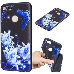 BONROY Coque Xiaomi Mi 5X / Mi A1, Etui Souple Flexible en Premium TPU Case Cover Smartphone Slim Housse de Protection Mate Légère-(Papillon Bleu HC)