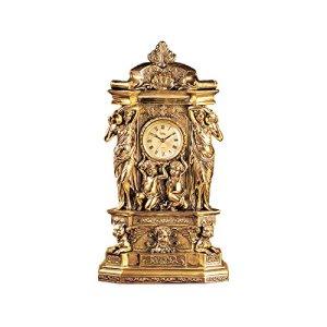 Design Toscano Château de Chambord Horloge de Tablette de Cheminée Décor Classique, 51 cm, polyrésine, or