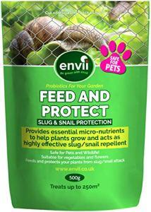 Envii Feed & Protect – Répulsif De Contrôle Anti-Limace et Escargot Sans Risque Pour Les Animaux – Fertilisant Non-Toxique et Sans Danger Pour Les Animaux (500g)