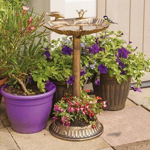 GardenKraft 17390 – Bain d'oiseau à Coquillages avec jardinière intégrée, Effet Bronze
