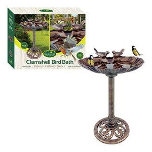GardenKraft 23940Plastique Bronze Effet métal Clam Shell Motif Bird de Bain avec Pierres