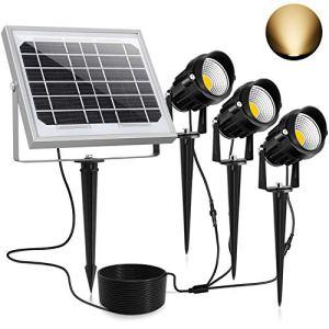 Lampe Solaire Exterieur【Blanc Chaud】3000K, CLY Projecteur Solaire Exterieur, Spot Solaire Exterieur Eclairage Etanche IP66 450LM, lumiere exterieur solaire pour Mural, Jardin, Chemin (Lampe*3)