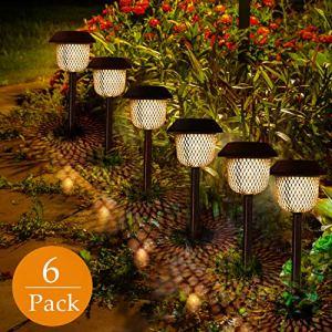 Lot de 6 lampes solaires de jardin, GolWof – Éclairage solaire – Lumière blanche chaude et solaire – Étanche – IP44 – Pour extérieur – Villa pelouse