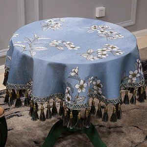 Maison style chinois ronde nappe table ronde couverture tissu 1087 chiffon table basse tissu salon salon ronde Nappe en Tissu (Couleur : Light Blue, Taille : (180cm))