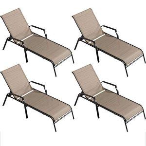 Q-Y-J Chaise Longue Chaise Longue Confortable, Balcon, Terrasse, Chaise Longue De Jardin, Chaise De Plage pour Le Dos, Charge 200 Kg, 4 Paquets