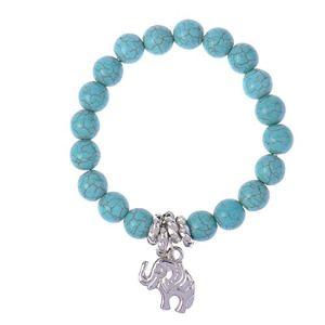 Rlorie Bracelet Turquoise, Turquoise Pierres Précieuses Chakra Bracelet, Bracelet Extensible Turquoise Stabilisé À La Main pour Les Hommes Et Les Femmes Cool