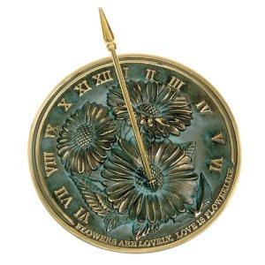 Rome 2302Fleurs Cadran Solaire, Laiton avec Vert-de-Gris mèches, 25,4cm de diamètre