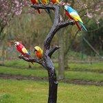 Très Beau Grand arbre avec six colorées perroquet en bronze