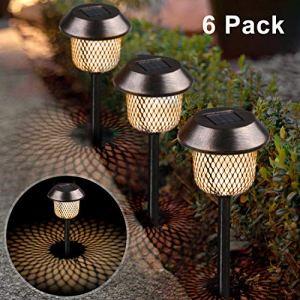 Xddias Lot de 6lampes solaires étanches pour le jardin, en acier inoxydable, décoration à LED pour extérieur, terrasse, pelouse, arrière-cour, chemin