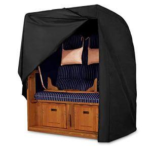 Dokon Coque Corbeille de Plage imperméable Respirant Tissu Oxford 420D Corbeille de Plage Couverture (135x 105x 175/140) Noir