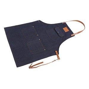 Fdit Tablier de Service Denim Tablier Multi Poches avec Sangle Réglable en Cuir pour Travail Cuisson Jardinage Artisanat 78 * 68cm(Bleu Jean)