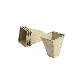 Greengeers 93483 Set de 20 Pots Carre Papier Beige 8 cm