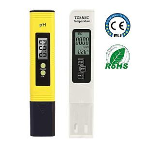 HOPLAZA Digital pH Meter, pH Meter Water Quality Test 0.01 PH with pH Measuring Range 0-14, TDS PH EC Set 2 in 1 for Drinking Water for Domestic Use, Swimming Pool (Yellow)