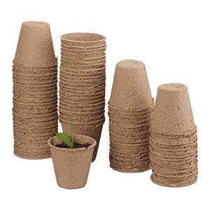 OMZGXGOD Pots Biodégradables 80 Pots de Plantation en Fibre pour semis, Nourriture, Plantes