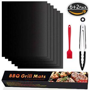 SPLAKS Tapis de Cuisson pour Barbecue, Set de 6 Tapis Barbecue 100% Anti-adhérent de BBQ et Feuilles de Cuisson réutilisable pour Les Barbecue à gaz, Charbon ou électriques avec Brosses et Pince