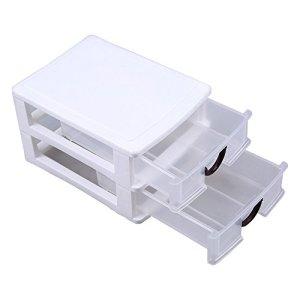WCIC Unité de tiroir, boîte de Rangement d'organisateur de tiroirs de Stockage de avec Cadre Transparent avec 2 tiroirs empilables