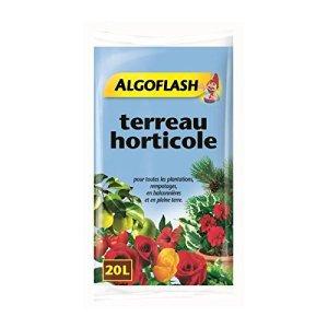ALGOFLASH Terreau Horticole, Croissance vigoureuse, Pour toutes les plantations et rempotages, 20 L, ATHORT20N