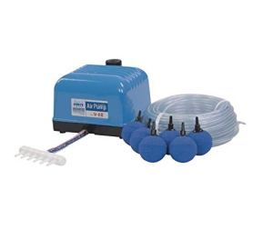Aquaforte Ensemble de Pompe à air Hailea V60, 57 L/Min à 1,2m, avec 10Pierres et Tuyau de 50m (diamètre env. 1,70 cm/0,6″)
