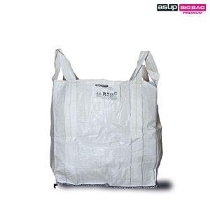 Asup Pierres Big Bag (Cross Corner Loops) 90 x 90 x 90 cm, largeur de sangle 7 cm, 4 courses cousues cousues sur l'angle SWL 1500 kg, blanc