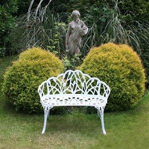 Charles Bentley Banc 2 Places en Aluminium moulé pour Jardin et Patio – Motif Tulipes – Blanc