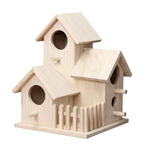 Fanxing Maison d'oiseau nid extérieur en bois mural créatif, nid d'oiseau en plein air décoration jardin (marron)