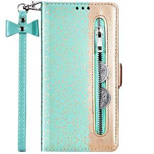 Hpory Coque Xiaomi Redmi 7A Etui Housse en Cuir PU Portefeuille à Rabat Flip Case Zipper Coque de Protection à Fermeture Magnétique avec Fente pour Cartes,Vert