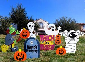JOYIN Friendly Halloween Corrugate Piquet de Yard Signs (9pièces) pour Halloween Décorations d'intérieur/extérieur, Pelouse Yard Décorations, Trick ou Traiter, Halloween