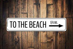 qidushop Panneau personnalisé « to The Beach » – Panneau de kilométrage personnalisé en métal – Cadeau de Plage – Flèche de Plage – Décoration de Maison – Décoration Murale – pour Femme et Homme