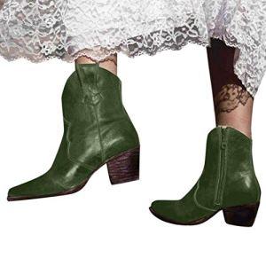 Sunnywill Bottes pour Femmes, Bottines à La Mode pour Femmes Slip on Women Bottines RéTro De Couleur Unie à Talons Hauts
