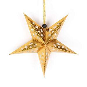 WEIWEITOE Plafond Creux d'abat-Jour de Lanterne de Papier d'étoile du Pentagramme 3D Suspendu décorations pour la fête de Noël, 30cm d'or,