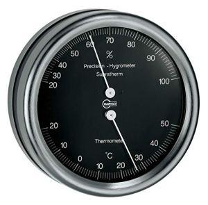 Barigo Orion Thermomètre Hygromètre en acier inoxydable noir avec Marine Mouting 102mm